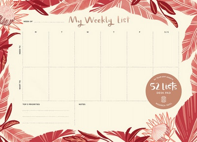 52 Lists Weekly Desk Pad